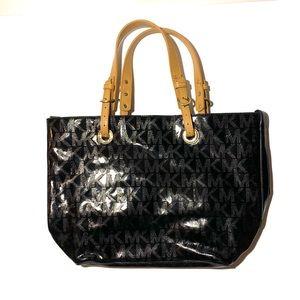 MICHAEL KORS Black Embossed Patent Logo Tote Bag